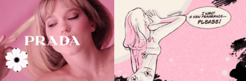 Candy Florale – Quand Prada Anime Léa Seydoux en Gif